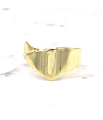 14 karaat geelgouden brede ring - Wave