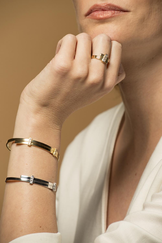 Geelgouden armband met diamanten - Mondria-2