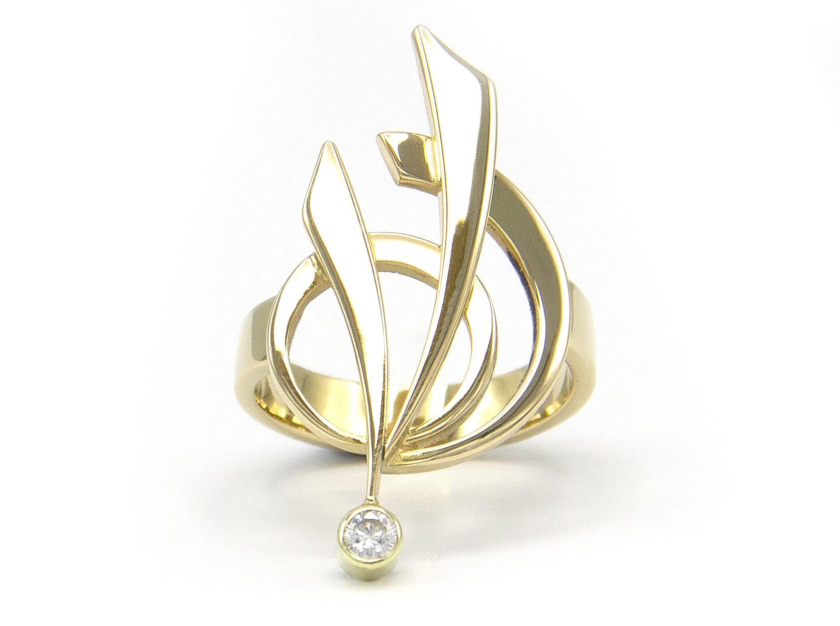 Geelgouden ring met diamant - Around-3