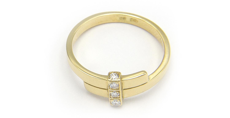 Geelgouden ring met 5 diamanten - Mondria-3