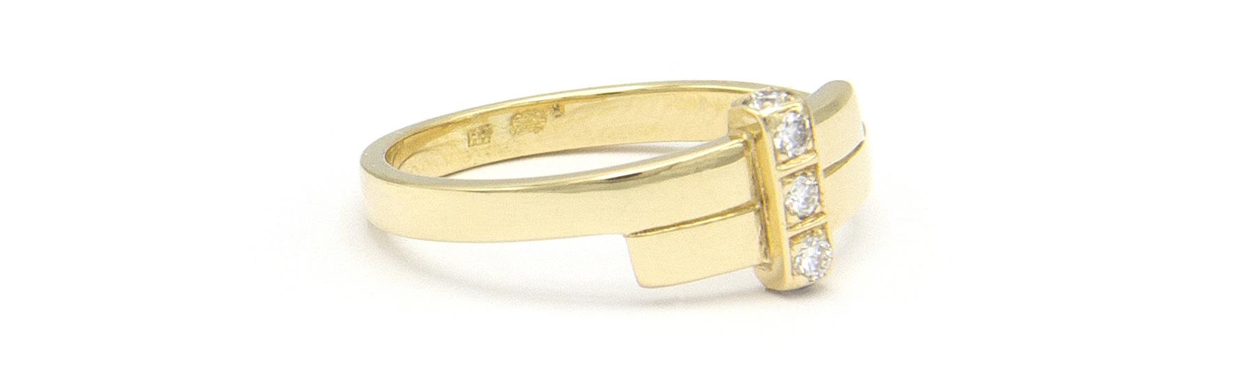 Geelgouden ring met 5 diamanten - Mondria-4
