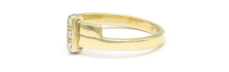 Geelgouden ring met 5 diamanten - Mondria-6