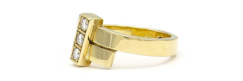 Geelgouden ring met 3 diamanten - Mondria-5