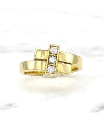 Geelgouden ring met 3 diamanten - Mondria