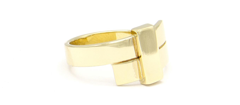 Geelgouden ring breed - Mondria-3