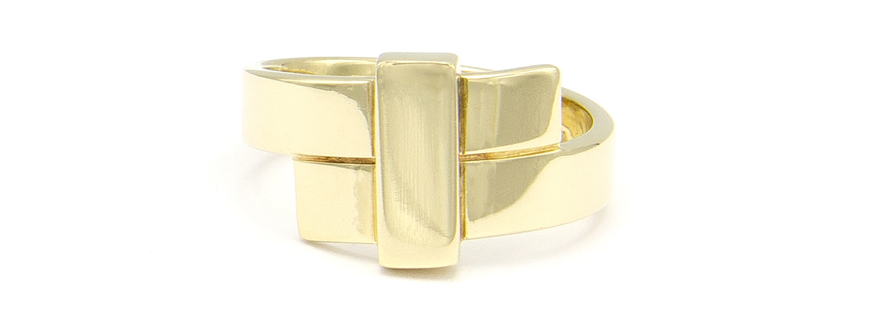 Geelgouden ring breed - Mondria-4
