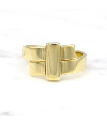 Geelgouden ring breed - Mondria