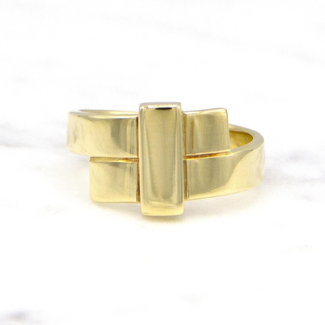 Geelgouden ring breed - Mondria-1