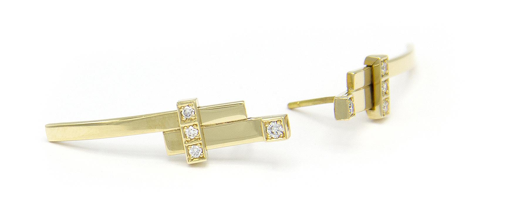 Geelgouden oorstekers met diamant  - Mondria-3