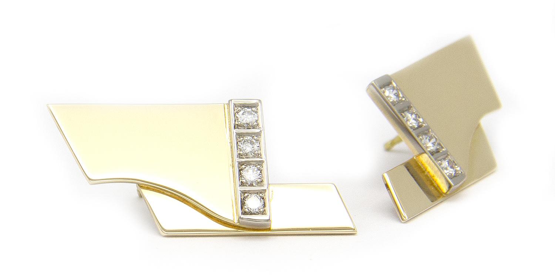Geelgouden oorstekers met diamanten - Mondria-3