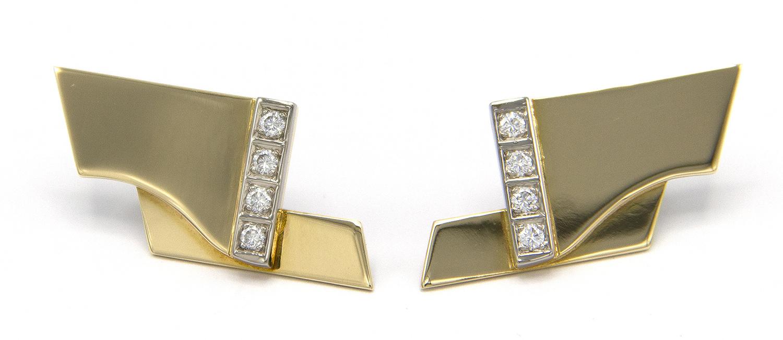 Geelgouden oorstekers met diamanten - Mondria-4