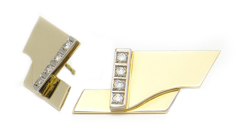 Geelgouden oorstekers met diamanten - Mondria-5