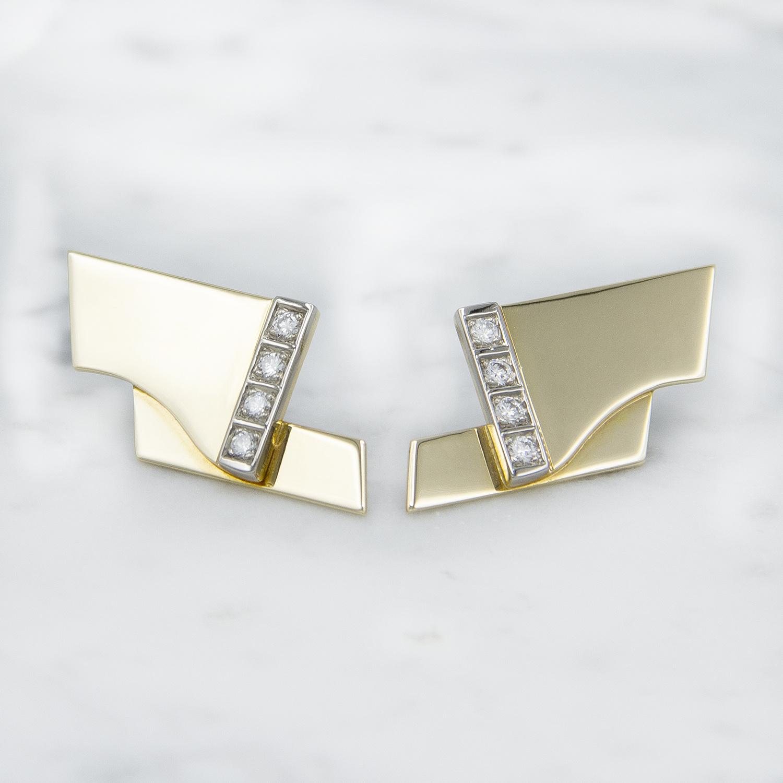 Geelgouden oorstekers met diamanten - Mondria-1