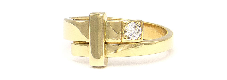 Geelgouden ring dames met diamant - Mondria-4