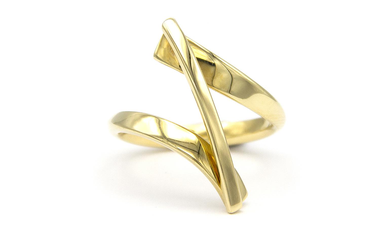 Geelgouden ring Swirll - Smedy-4