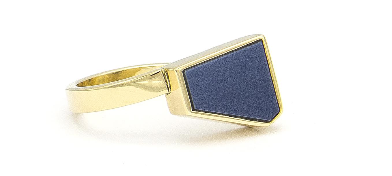 Geelgouden zegelring met blauwe lagensteen - Straight-3