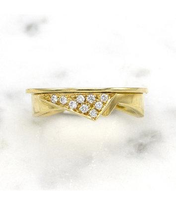 14 karaat geelgouden damesring met diamanten  - Trio