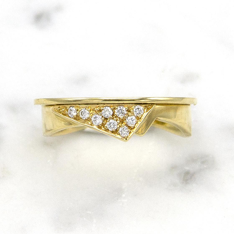 Geelgouden damesring met diamanten  - Trio-1
