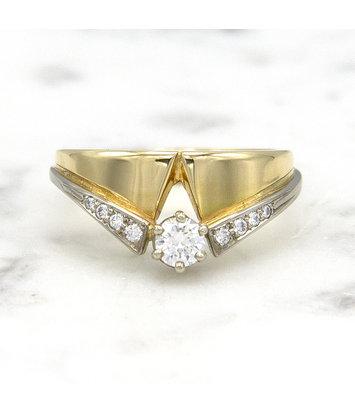 14 karaat geelgouden ring met diamanten - Trio