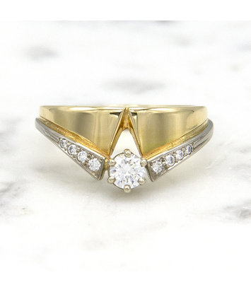 Geelgouden ring met diamanten - Trio