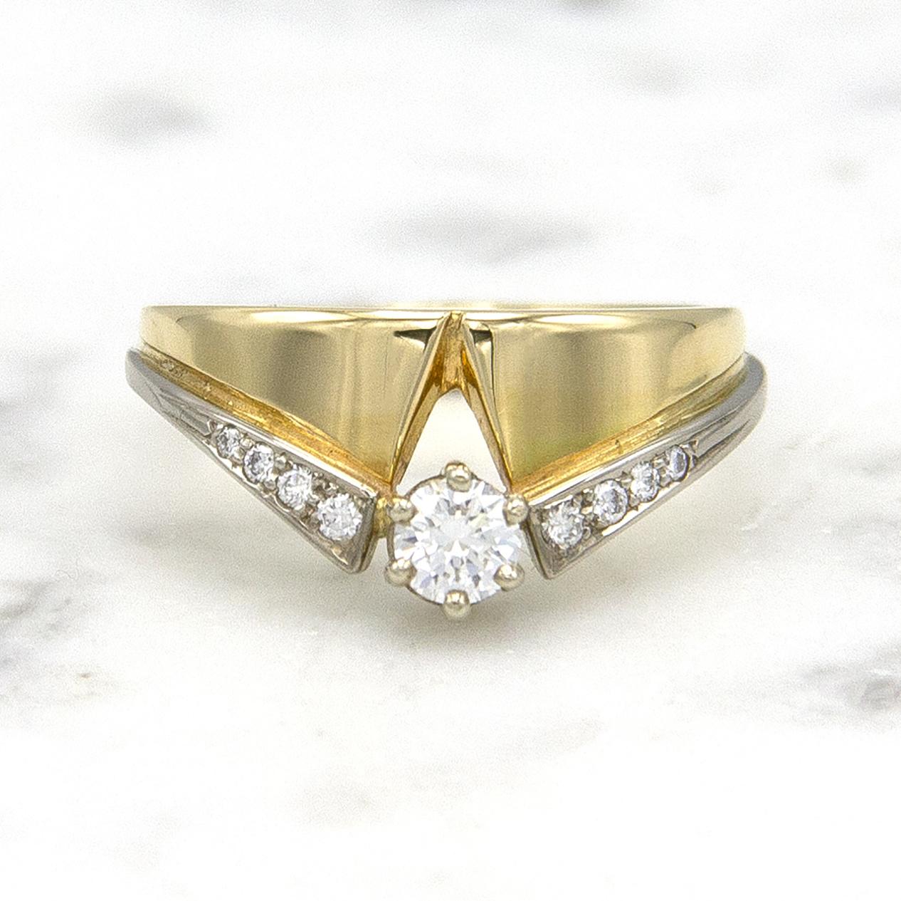 Geelgouden ring met diamanten - Trio-1
