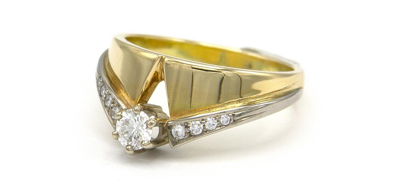 Geelgouden ring met diamanten - Trio-5