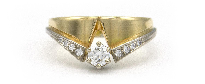 Geelgouden ring met diamanten - Trio-4