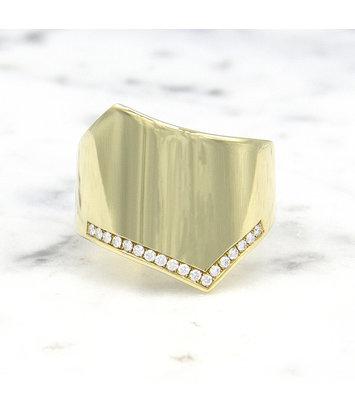 Geelgouden damesring met diamanten - Wave