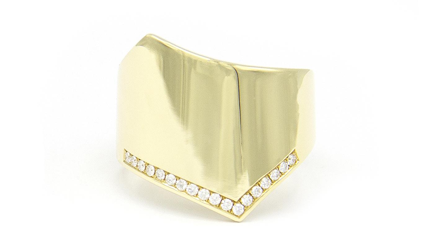 Geelgouden damesring met diamanten - Wave-4