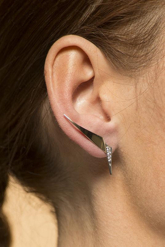 Geelgouden oorstekers met diamanten - Trio-2
