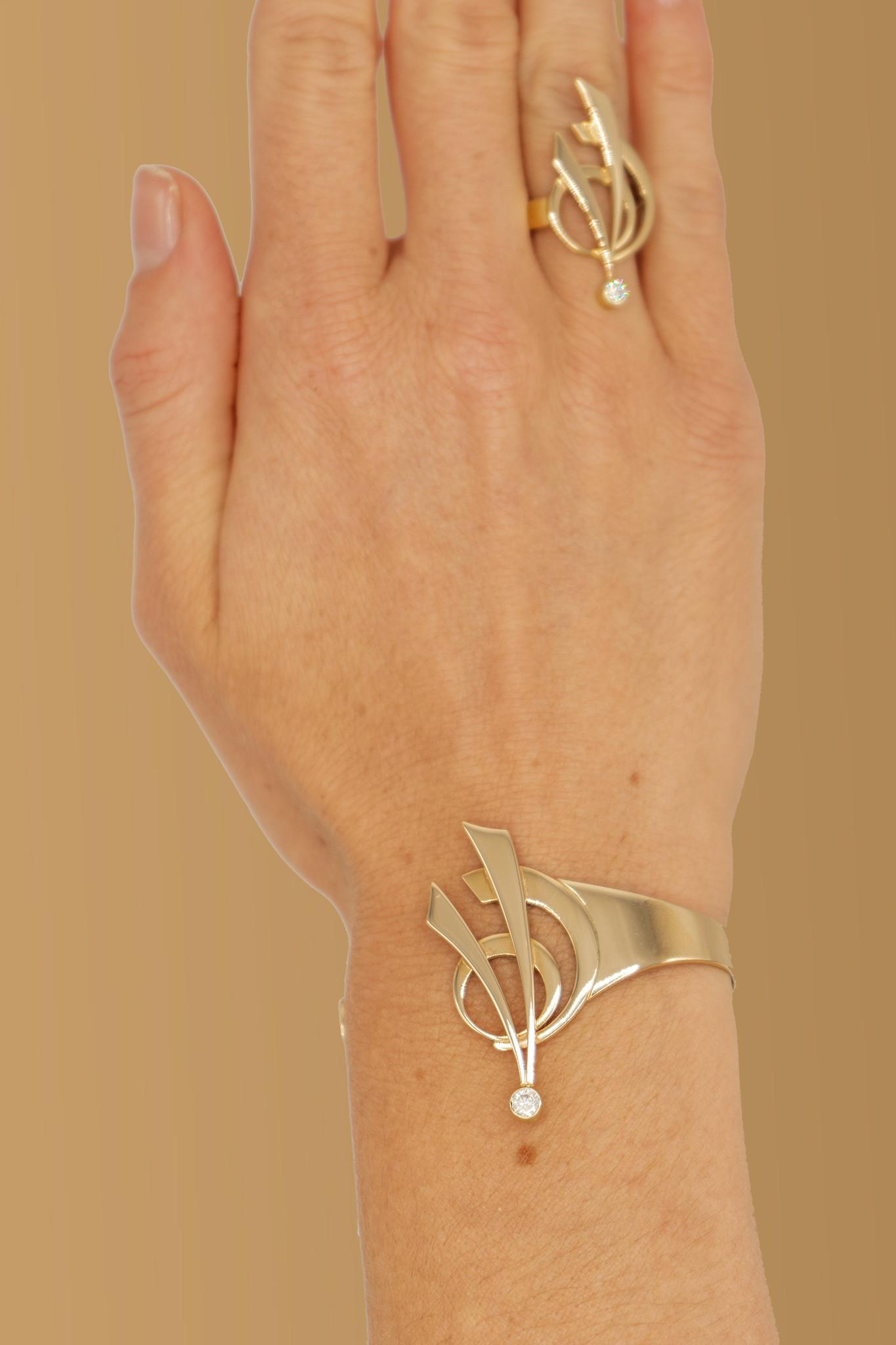14 karaat geelgouden armband met diamant - Around-2