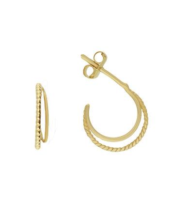 14 karaat geelgouden oorstekers - Jackie  - Twister Twin Hoops