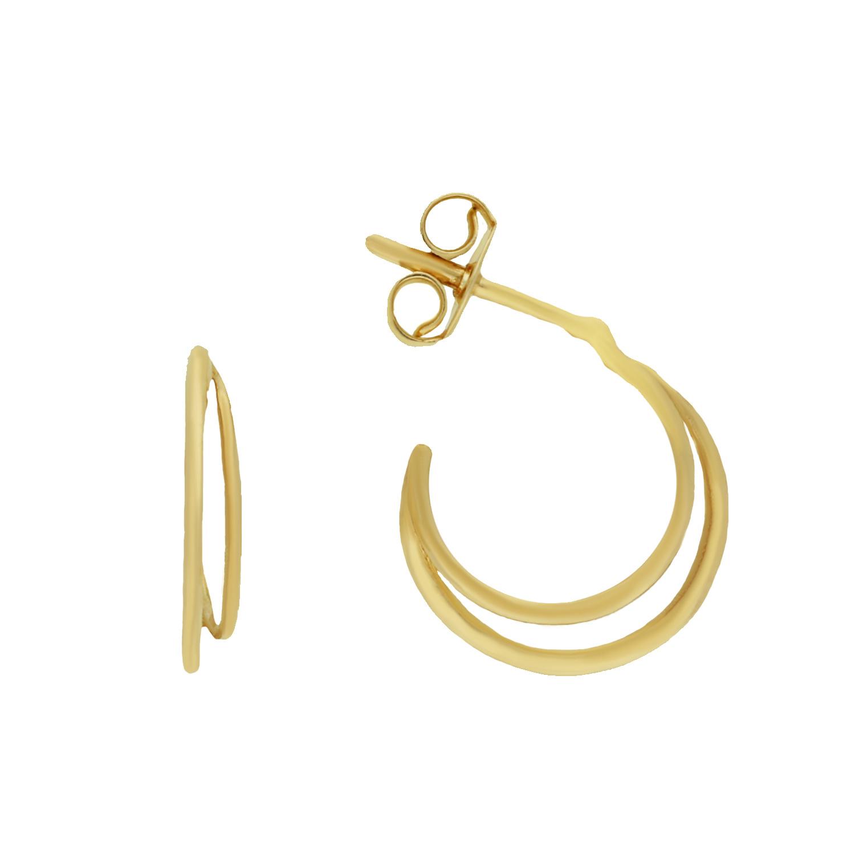 14 karaat geelgouden oorstekers - Jackie  - Twin Hoops-1