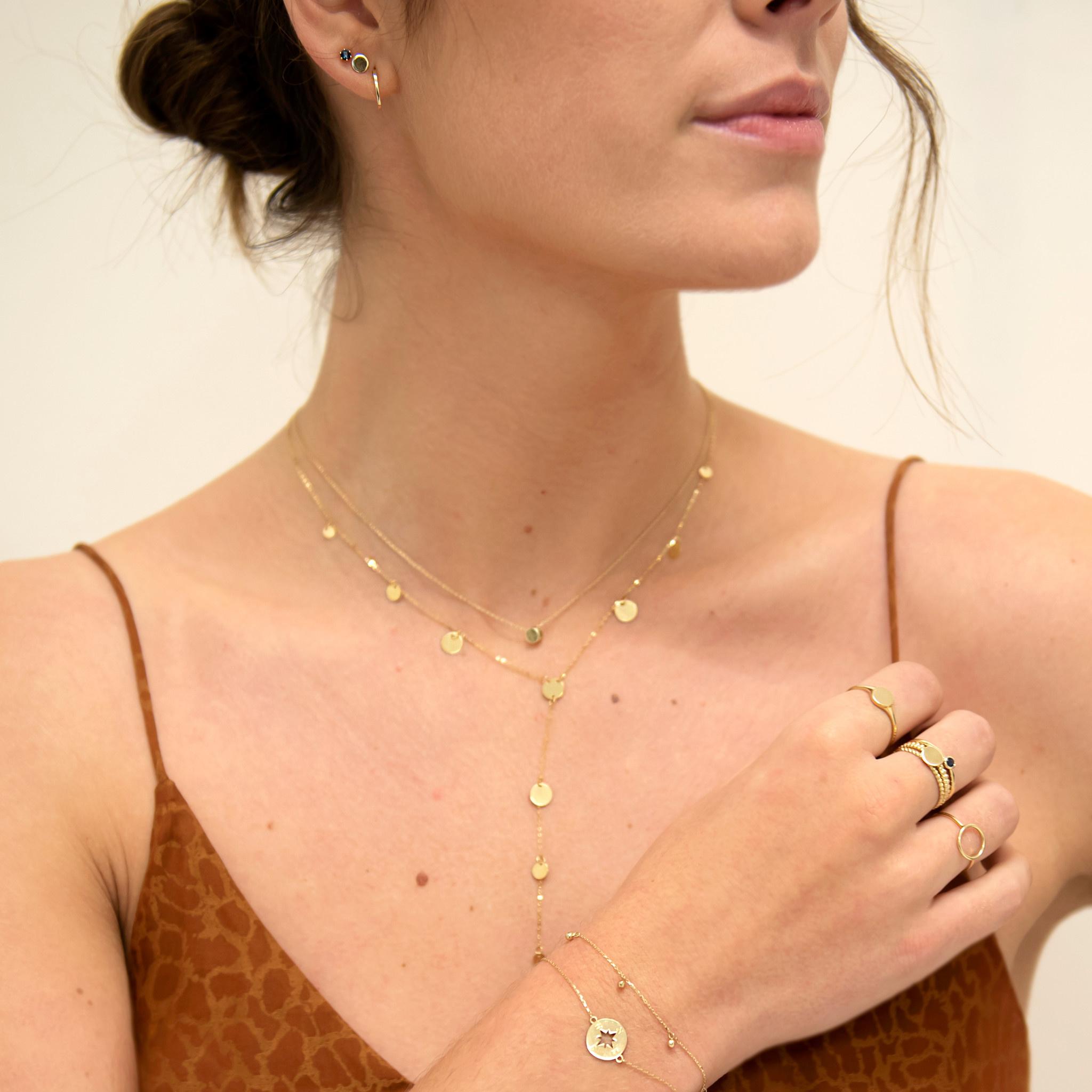 14 karaat geelgouden oorstekers - Jackie  - Mini Plain Hoops-4