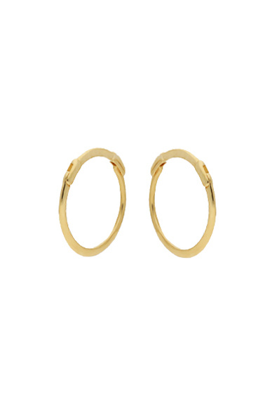 14 karaat geelgouden oorstekers - Jackie  - Mini Plain Hoops-3
