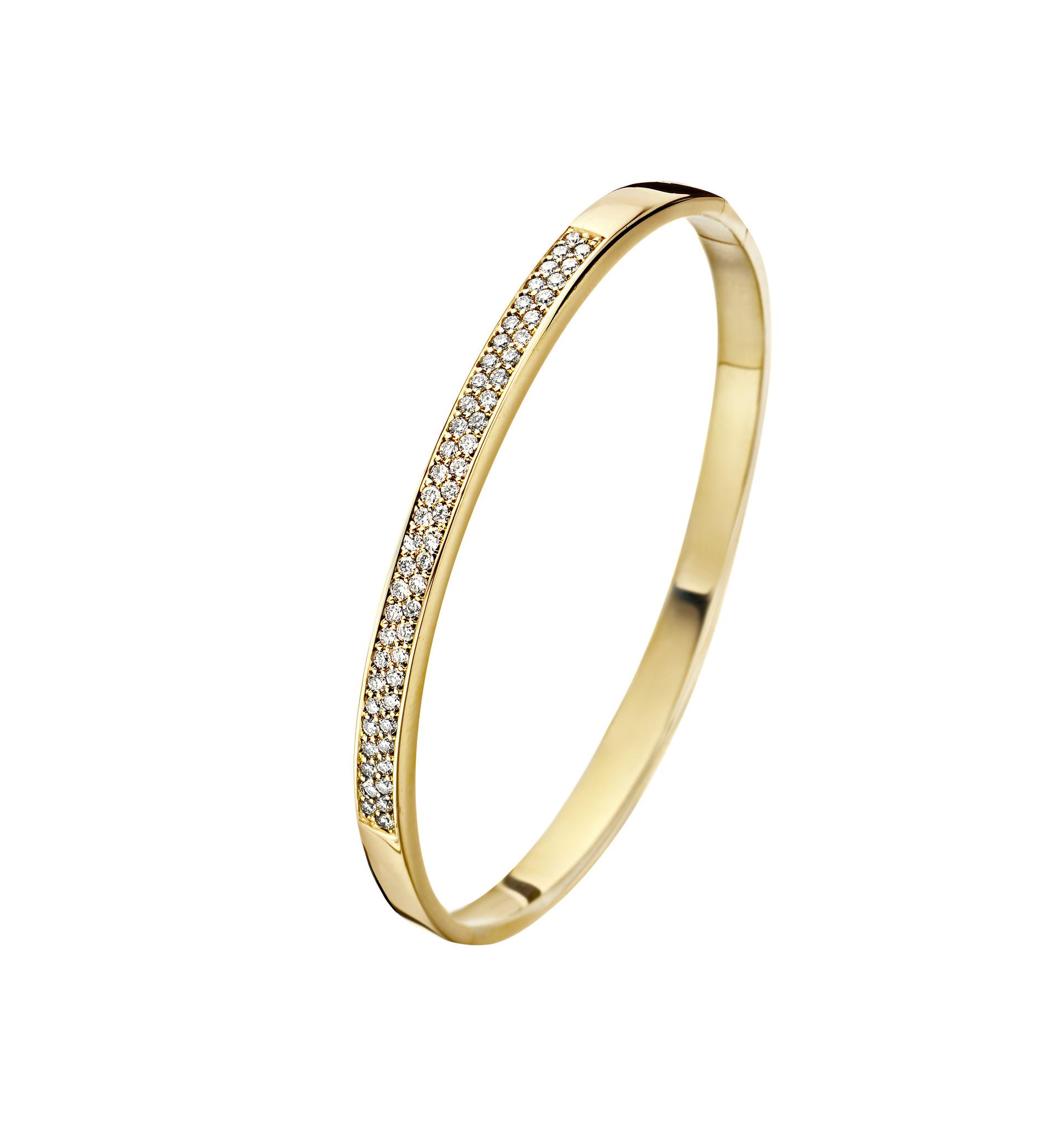 14 karaat geelgouden armband met diamanten - Recht 5 mm - Fjory - Slavenarmband-2