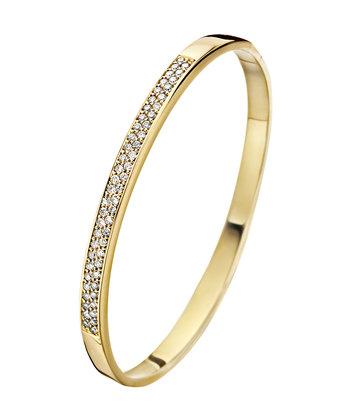 14 karaat geelgouden armband met diamanten - Recht 5 mm - Fjory - Slavenarmband