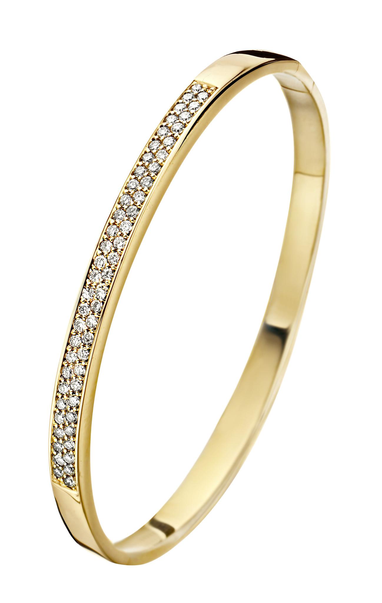 14 karaat geelgouden armband met diamanten - Recht 5 mm - Fjory - Slavenarmband-1