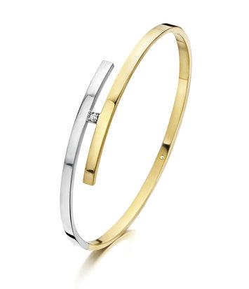 14 karaat geel/witgouden armband met diamant - Recht 3 mm - Fjory