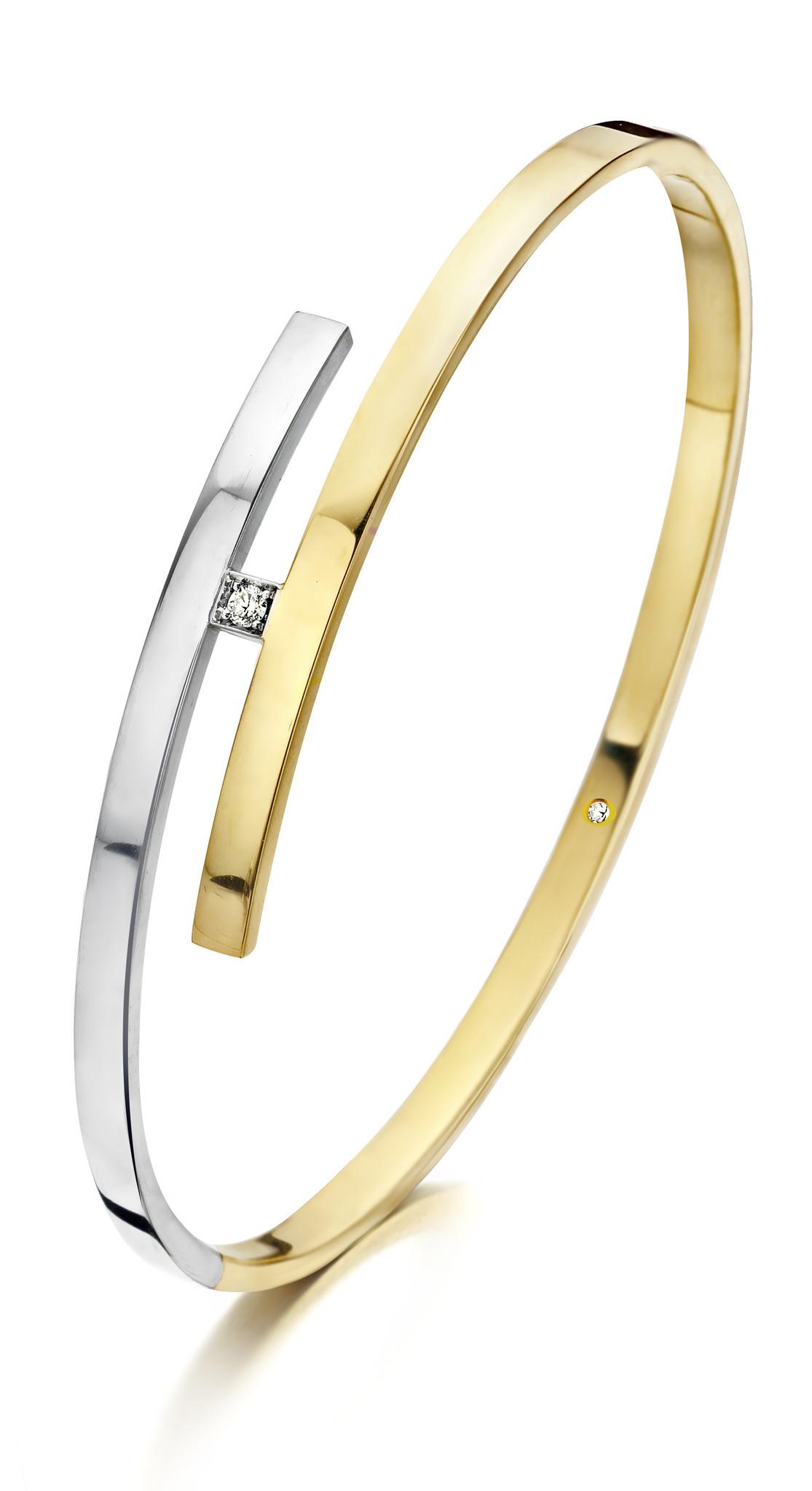 14 karaat geel/witgouden armband met diamant - Recht 3 mm - Fjory-1