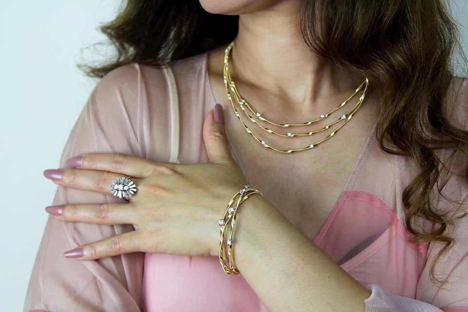 18 karaat geelgouden dames ketting - Marco Bicego - Marrakech Diamant-2