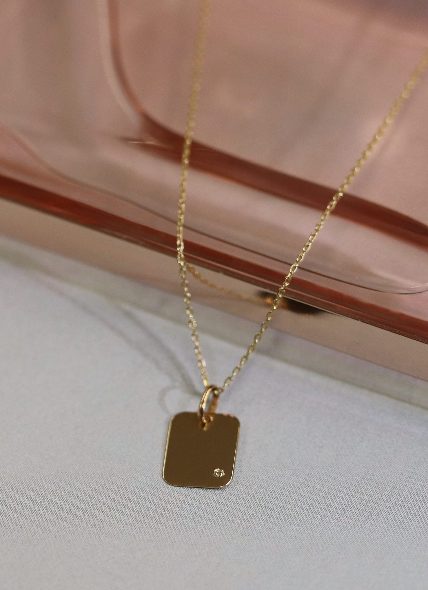 14 karaat geelgouden dames ketting - Jackie - Diamond Rectangle-4