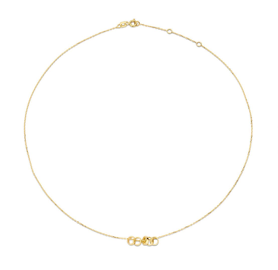 14 karaat geelgouden dames ketting - Jackie - Five Rings Necklace-1