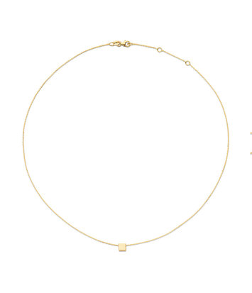 14 karaat geelgouden dames ketting - Jackie - De Plain Square Necklace