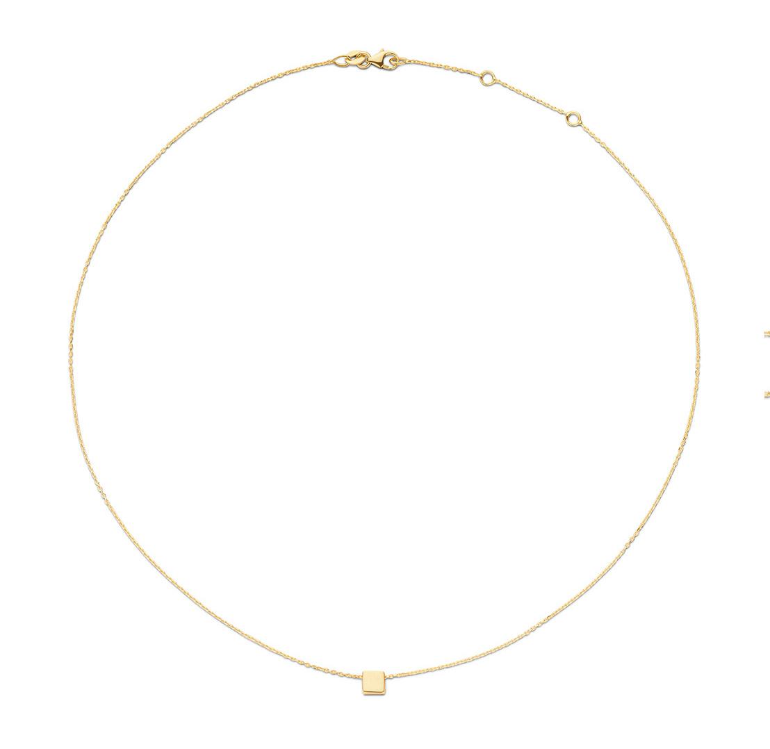 14 karaat geelgouden dames ketting - Jackie - De Plain Square Necklace-1