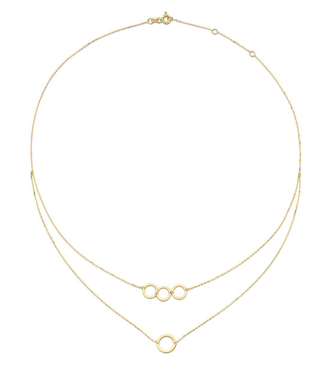 14 karaat geelgouden dames ketting - Jackie - De Circles Necklace-1