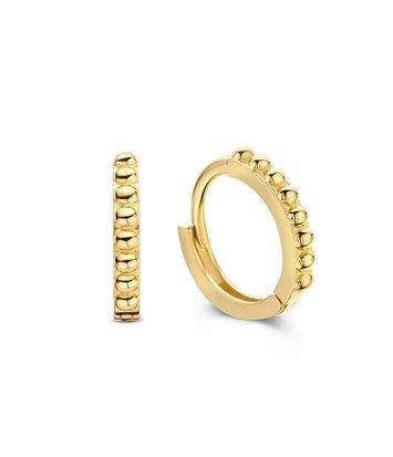 14 karaat geelgouden oorstekers - Jackie  - Dots Hoops 8mm