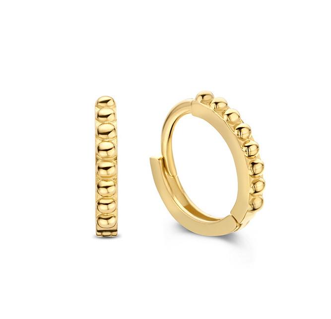 14 karaat geelgouden oorstekers - Jackie  - Dots Hoops 8mm-1