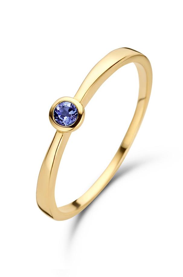 14 karaat geelgouden ring Saffier - Jackie-1