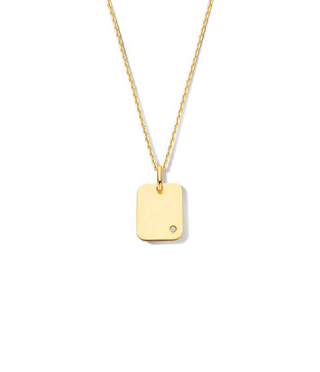 14 karaat geelgouden dames ketting - Jackie - Diamond Rectangle